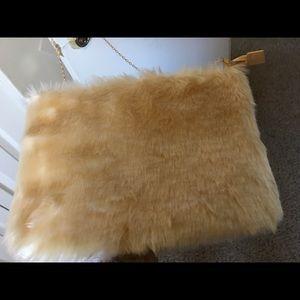 BooHoo cream color faux fur clutch purse